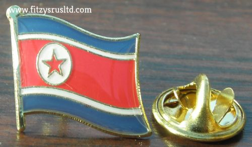 North Korea Country Flag Lapel Hat Cap Tie Pin Badge - Korean DPRK - Brand New